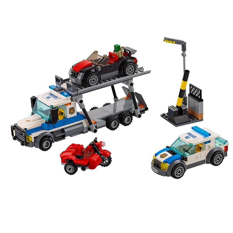 New City Police Series Auto Transport Heist Building Blocks Trail Car Model Bricks Toys With Christmas 60143