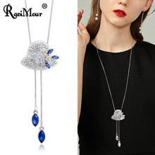 Cute Rhinestone Hat Collier Femme Bijoux Fashion Crystal Long Necklace Pendant Women Accessories Sweater Chain Jewelry Gift 2019(China)