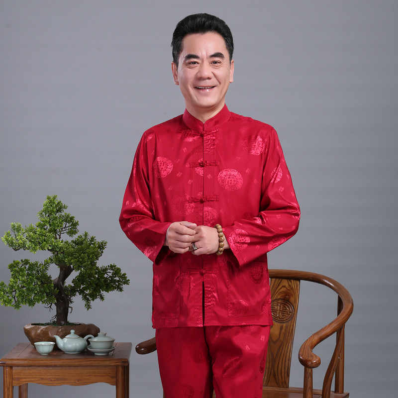 Hombres satén Kung Fu traje diseñador chino Wu Shu uniforme Tai Chi ropa camisa de manga larga + conjuntos de pantalones largos además, M, L, XL, XXL, 3XL 4XL