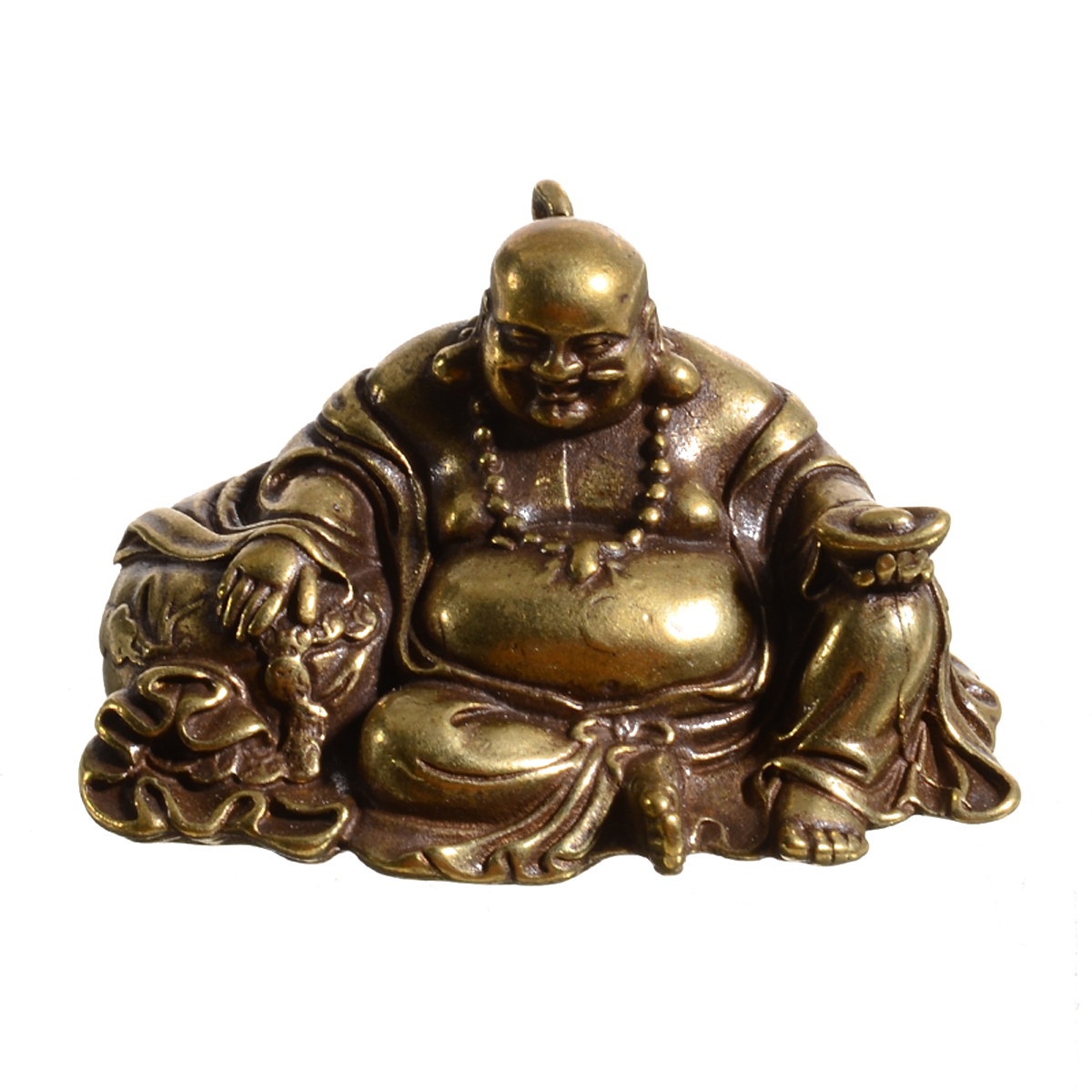 1PC Brass Maitreya Statue Chinese Pure Brass Small Maitreya Buddha Statue Ornaments Home Garden Decoration Statues Collection