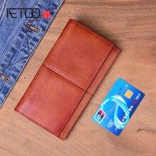 AETOO Handmade Genuine Leather Men Wallet Purse Long billfold  Clutch Bag Male purse Women