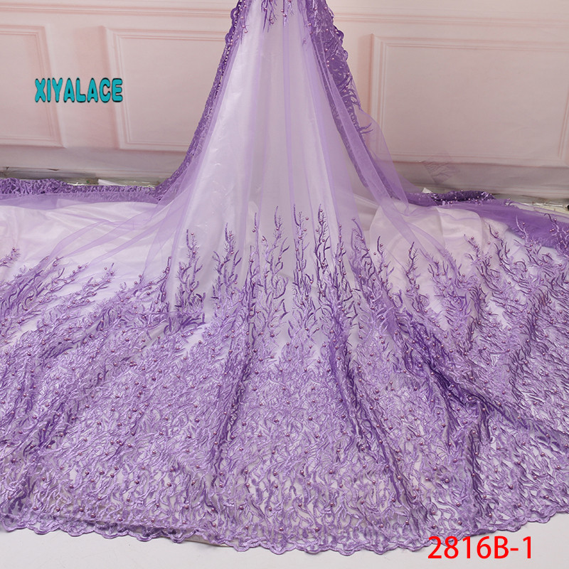 Nigerian African Lace Fabric Seaweed Lace Beads Lace Fabric Embroidered Lace Fabric African Wedding Party Dress YA2826B-1