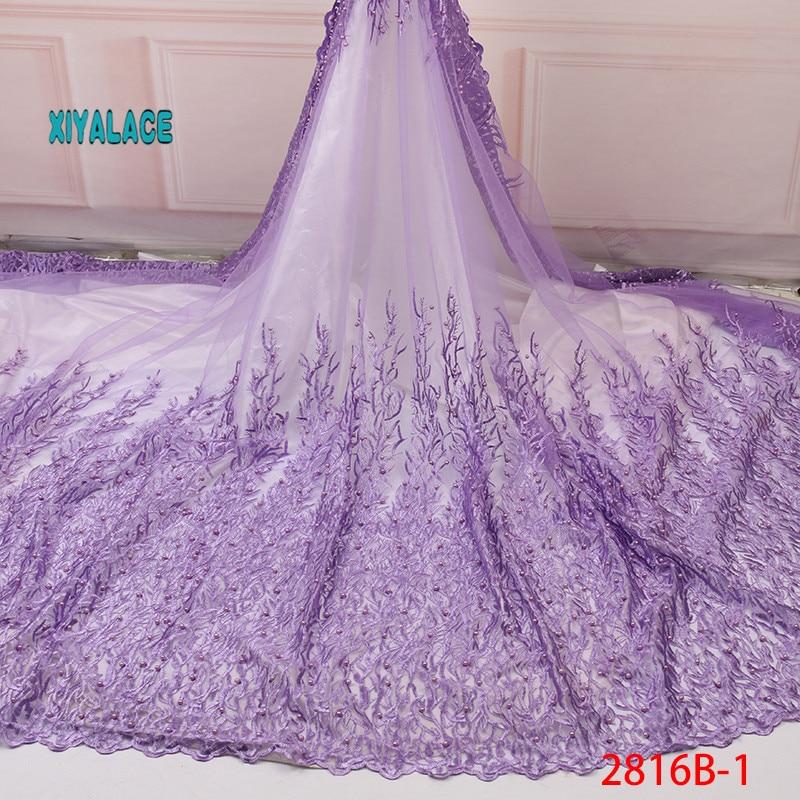 Nigerian African Lace Fabric Seaweed Lace Beads Lace Fabric Embroidered Lace Fabric African Wedding Party Dress YA2826B-1
