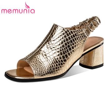 MEMUNIA 2020 hot sale genuine leather shoes women sandals solid colors summer square high heel classic dress shoes ladies