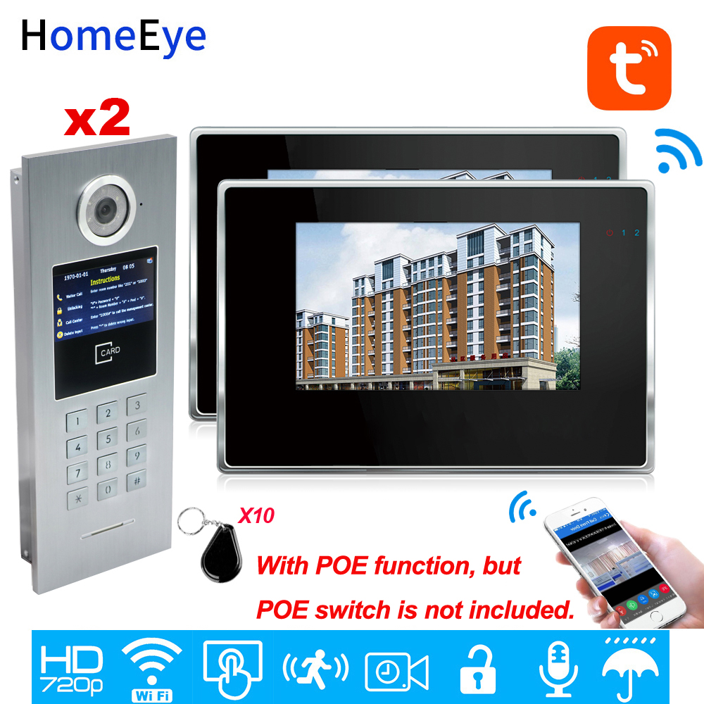 TuyaSmart APP Supported 960P WiFi Video Door Phone 7'' IP Video Intercom Security Home Access Control System Keypad/IC Card/2-2