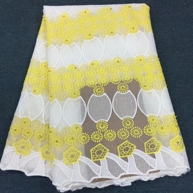 2019 Hot Sale African Beaded Lace Fabric High Quality Nigerian Lace Embroidery Guipure Bridal Net Lace Fabric For Nigerian Dress