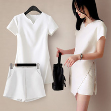Summer Women Sets Two Pieces Set V-Neck Tops Short Shorts Casual Womens Office Suit