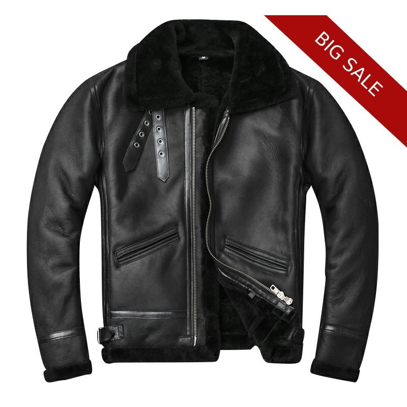 2020 Black Men American Military B3 Bomber Shearling Jacket Plus Size XXXXL Genuine Sheepskin Winter Natural Leather Coat