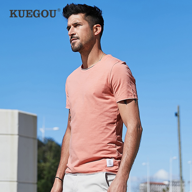 KUEGOU Men's Short Sleeve T-shirt  Fashion Elastic Tshirt  Pure Color Couples Men T Shirt  Summer Fake Two Piece Top PT-1204