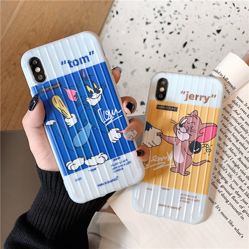 Cat and mouse Creativity phone case For iphone 11 Pro x xr xs Max 7 8 6S Plus protective case Silicone cartoon phone back cover