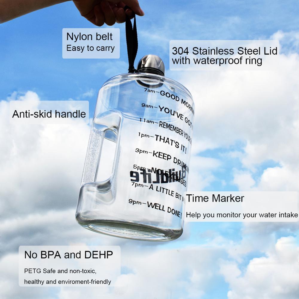 Image 2 - Quifit 128oz 73oz 43oz 1 Gallon BPA Free Plastic Big Drink Water Bottle Jug Gourd For Travel Sports Fitness GYM Waterbottle EcoWater Bottles   -