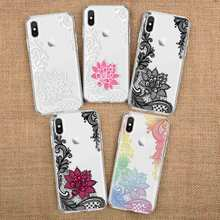 Ultra Thin Lace Flower Phone Case Painted Clear Soft TPU Silicone Protective Back Cover Skin for Samsung Galaxy A10 A20 A30 A40 s line wave back skin ultra thin tpu protective case cover for iphone 5c