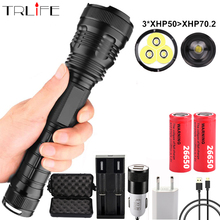 Powerful LED Flashlight 3*XHP50 Waterproof Zoom Linterna LEDTactical Torch Powered by 18650 or 26650 battery For outdoor,Camping dark soul led flashlight powerful torch linterna 26650 18650 rechargeable battery xm l2 linterna waterproof portable torch lamp