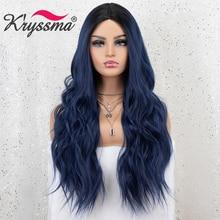 Azul misturado 13x3 peruca dianteira do laço sintético longo ondulado ombre perucas azuis para mulheres raízes escuras 2 tons de fibra de alta temperatura do cabelo