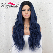 Kryssma Ombre Blue Wig Mixed Black Long Wavy Synthetic Wigs For Women Cosplay Wigs High Temperature Fiber Hair Wig