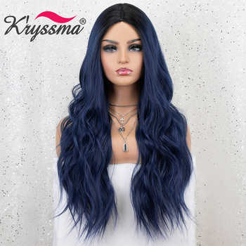 Kryssma Ombre Blue Wig Mixed Black Long Wavy Synthetic Wigs For Women Cosplay Wigs High Temperature Fiber Hair Wig - DISCOUNT ITEM  50 OFF Hair Extensions & Wigs