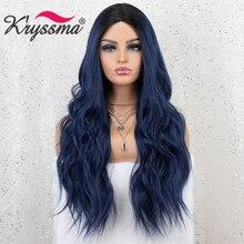Kryssma peluca sintética degradada para mujer, pelo de fibra de alta temperatura, color azul, negro mezclado largo ondulado
