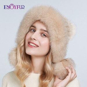 Image 3 - ENJOYFUR Inverno chapéus de pele de vison real para as mulheres de pele de raposa pompom ouvido proteger as tampas quentes forrado de pele de malha gorros moda chapéu Russian