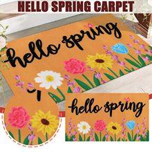 Felpudo de bienvenida de primavera, alfombra Retro de Hello Spring, fondo antideslizante, decoración de jardín, puerta al aire libre, 2021