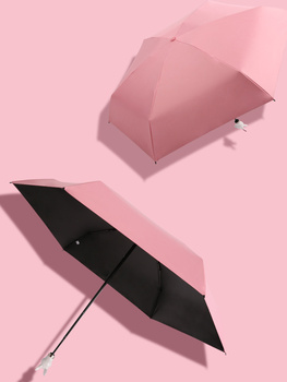 Women Sun Pocket Umbrella Rabbit Handle Uv Protection Five Fold Umbrella Mini Compact Female Black Coating Ladies  AA50YS