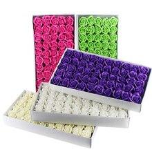 Set de 50 unidades de jabón con flores perfumadas para baño, pétalo, jabón de rosas, cabeza de flor, Día de San Valentín, decoración de bodaJabón