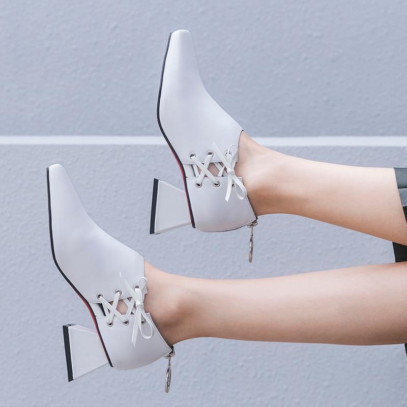 Оригинальная модная обувь из натуральной кожи; женская обувь на шнуровке; Цвет черный, белый; обувь на высоком каблуке; обувь высокого качества с квадратным носком; женская обувь для зрелых женщин - 3