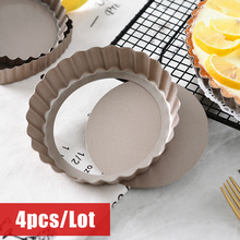 4pcs/Lot Nonstick Removable Bottom Mini Tart Pan Pizza Baking Tray Mould Quiche Pans Cake Mold and Cheesecake