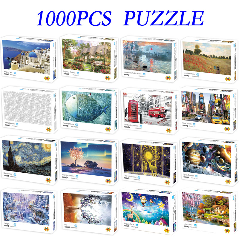 Mini Puzzles 1000 Pieces Papery Assembling Picture Landscape Puzzles Toys For Adults Children Kids Games Educational Toys