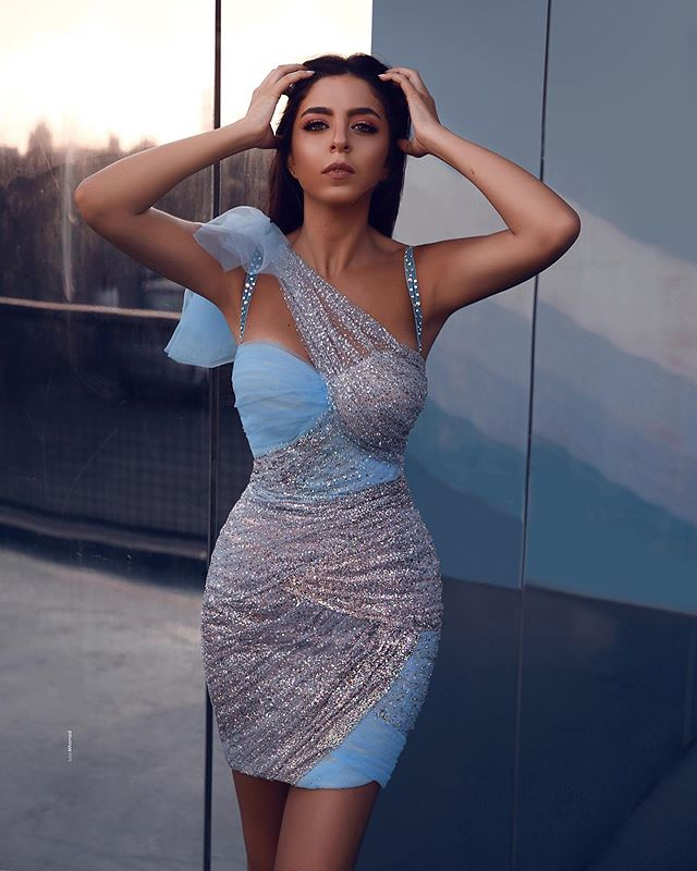 Short   Cocktail     Dress   2019 Y Blue Tulle With Sequin Shining Modest Formal Party Wear Gowns Mini