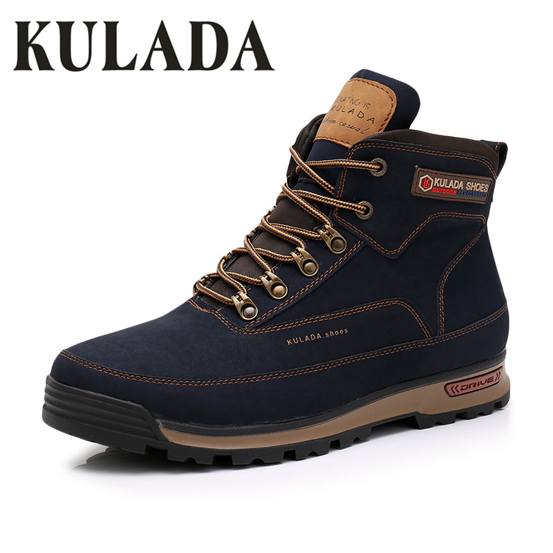 KULADA New Boots Men Winter Snow Boots Men Outdoor Activity Sneakers Boots Warm Lace Up High Top Fashion Shoes Men Safety Boots