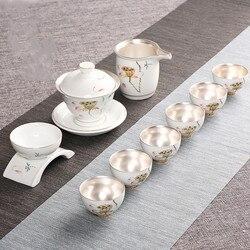 Mão-pintado porcelana conjunto de chá de prata casa simples capa de chá tigela bule de chá conjunto com prata kung fu conjunto de chá