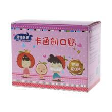 Bandagem adesiva à prova d'água de desenhos, bandagens adesivas anti-poeira respiráveis para tratamento de primeiros socorros para crianças, 1 caixa