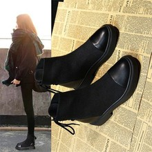 LZJ Women's Solid Color Square Heel Lace Suede Boots Round Head with Snow Boots Round Head