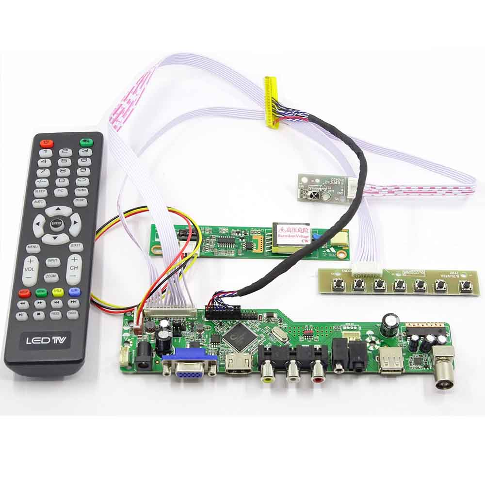 Latumab New  Kit For LT141X7-124 LT141X7-122 TV+HDMI+VGA+USB LCD LED Screen Controller Driver Board