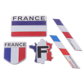 Car Styling 3D Aluminum France Flag Emblem Badge Car Sticker Decals Car-Styling For 307 206 207 C2 C3 image