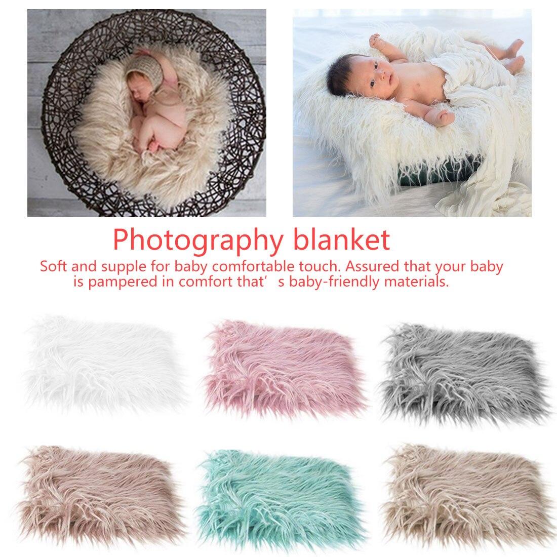 Newborn Baby Infant Photo Blanket Fake Fur Rug Blanket Plush Photography Background Prop Basket Stuffer Filler