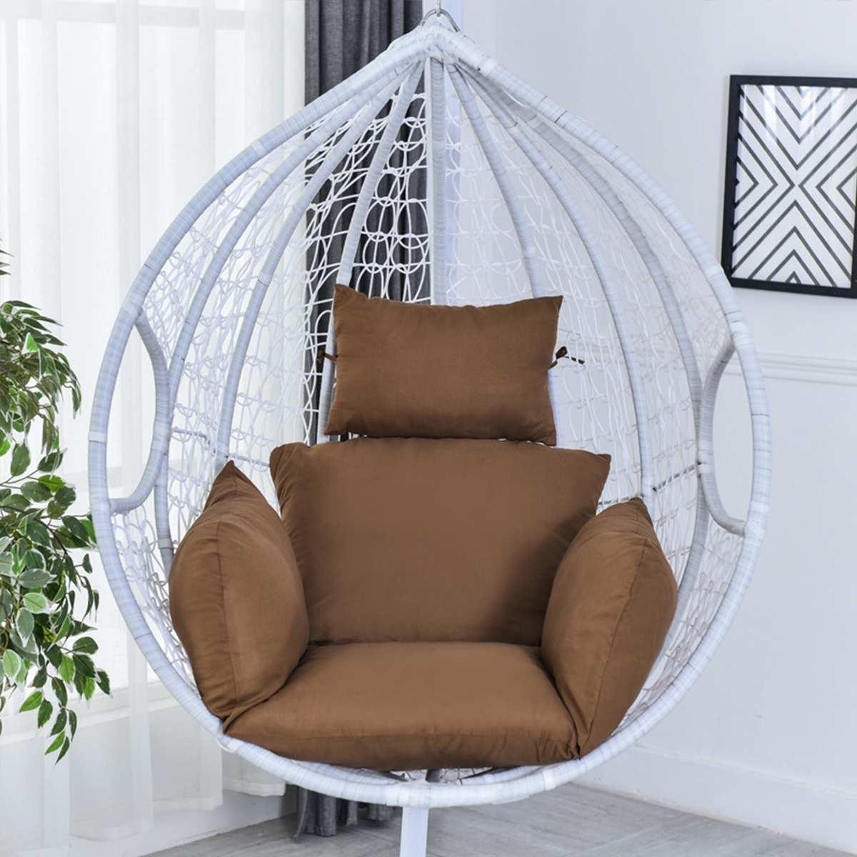 Cadeira de suspensão da rede que balança o assento macio exterior do coxim do assento do jardim 220kg dormitório quarto pendurado cadeira para trás com descanso