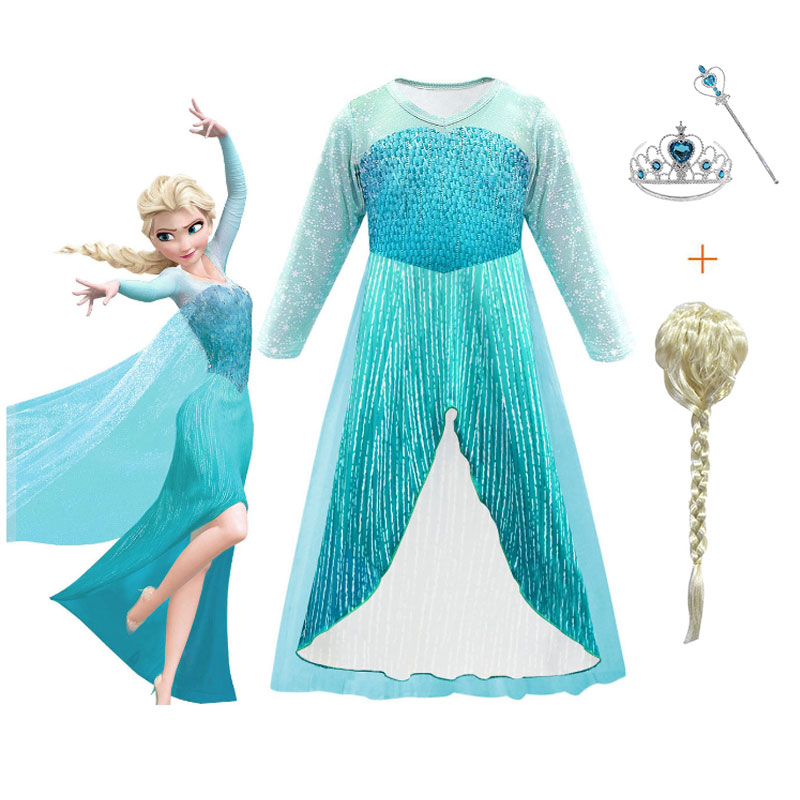 Snow Queen Elsa Anna Dress For Girls Halloween Elsa Costume Disguise Child Elza Dress Party Christmas Girls Clothing Shoes Wig