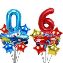 1 ensemble de ballons en aluminium de grande taille, 32 pouces, bleu et rouge, avec chiffres, étoiles, hélium, décoration de fête d'anniversaire, jouets pour garçons