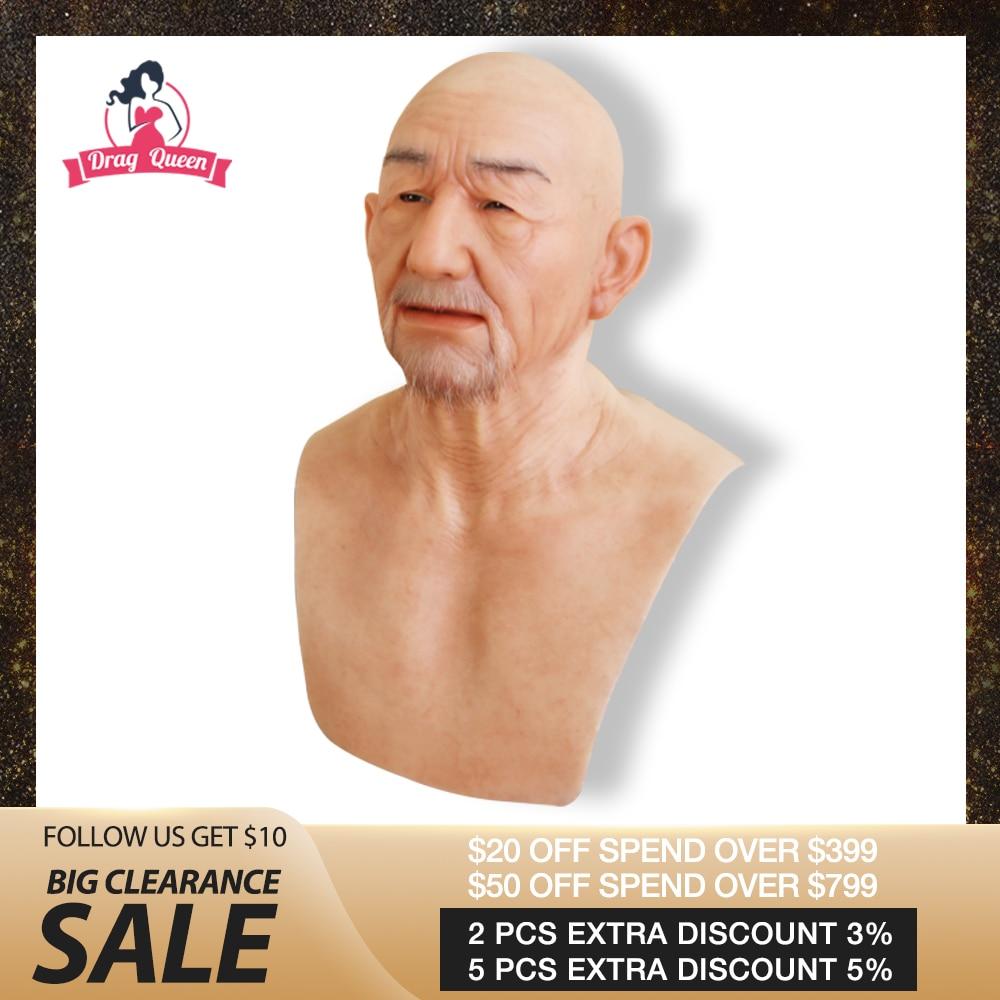 Glisser reine réaliste Silicone masques vieil homme visage Festival fête Halloween balle fournitures crosscommode réaliste peau humaine masque