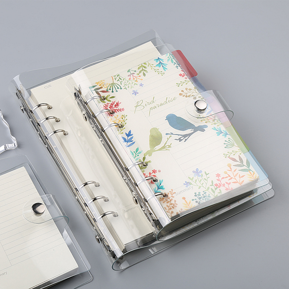 A5/A6 Notebook Transparent Color PVC Clip File Folder Loose Leaf Ring Binder Planner Agenda School Office Supplies