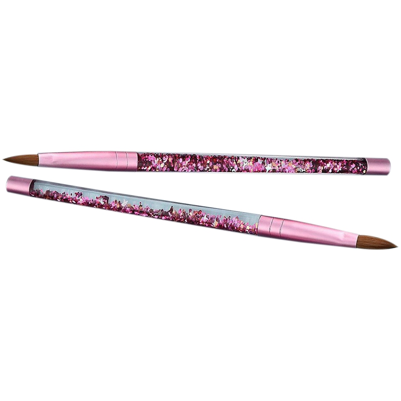 2 pces cor de rosa beleza kolinsky sable acrilico escova do prego com fluxo liquido glitter