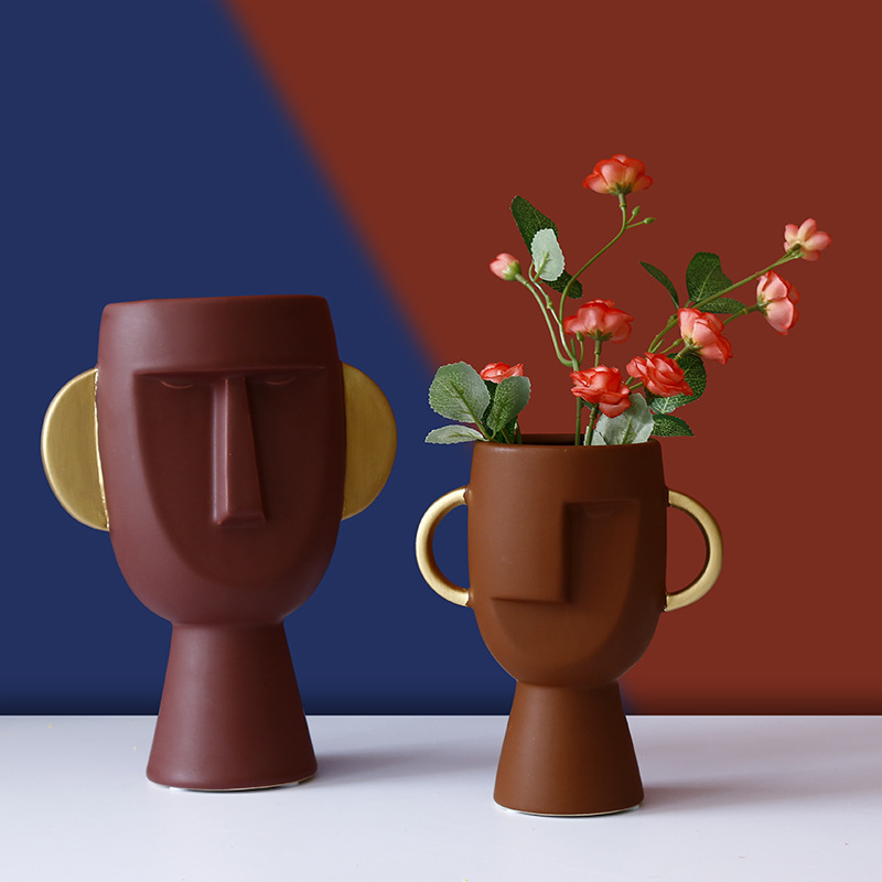 Nordic Light Luxury Ceramics <font><b>Avatar</b></font> <font><b>Mask</b></font> Man Vase Vase Living Room Dining Table Flower Arrangement Ornament Decoration Vases image