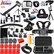 Husiway zestaw akcesoriów dla Gopro/Go pro Hero 7 6 5 wodoodporna obudowa zestaw do Gopro Hero7 5 6 czarna kamera 55A