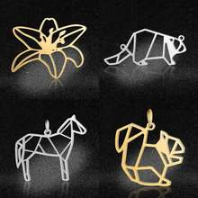 5pcs/lot 100% Stainless Steel Beaver Horse Squirrel Plumeria DIY Connector Charm Pendants Wholesale AAAAA Quality(China)