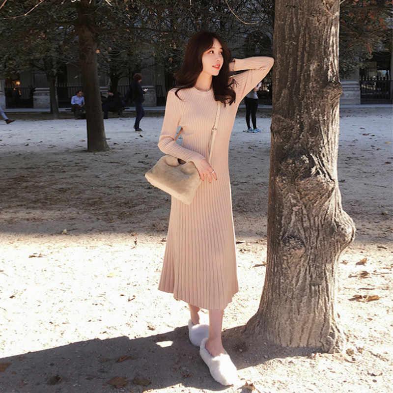Mode Herfst Trui Jurk Vrouwen Gebreide Jurk Plus Size Elegante Vrouw Truien Jurken Vrouw Hoge Taille Stretch Trui Jurken jurken jurk dress winter