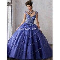 Puffy quinceanera vestidos de baile profundo v-neck boné mangas tule frisado cristais baratos doce 16 vestidos