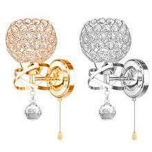 E14 настенный светильник простой и креативный прикроватный хрустальный светильник для спальни Настенный бра Хрустальный настенный светильник золотой/Серебряный для дома Ligting