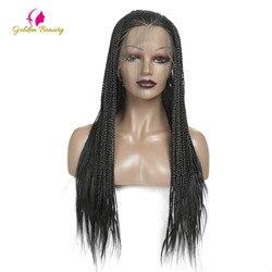 Hand Geflochtenen Perücken für Schwarze Frauen Synthetische Spitze Vorne Perücke mit Baby Haar Box Zöpfe Perücke Hohe Temperatur Faser Goldene schönheit