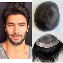 Naturalny czarny kolor tupecik dla mężczyzn męskie protezy włosów Straig ludzkie włosy typu Remy peruki naturalne włosy peruka zamiennik dla mężczyzn tanie tanio BYMC = 30 CN (pochodzenie) 6 miesięcy Natural Color Remy włosy Europejski włosów sally